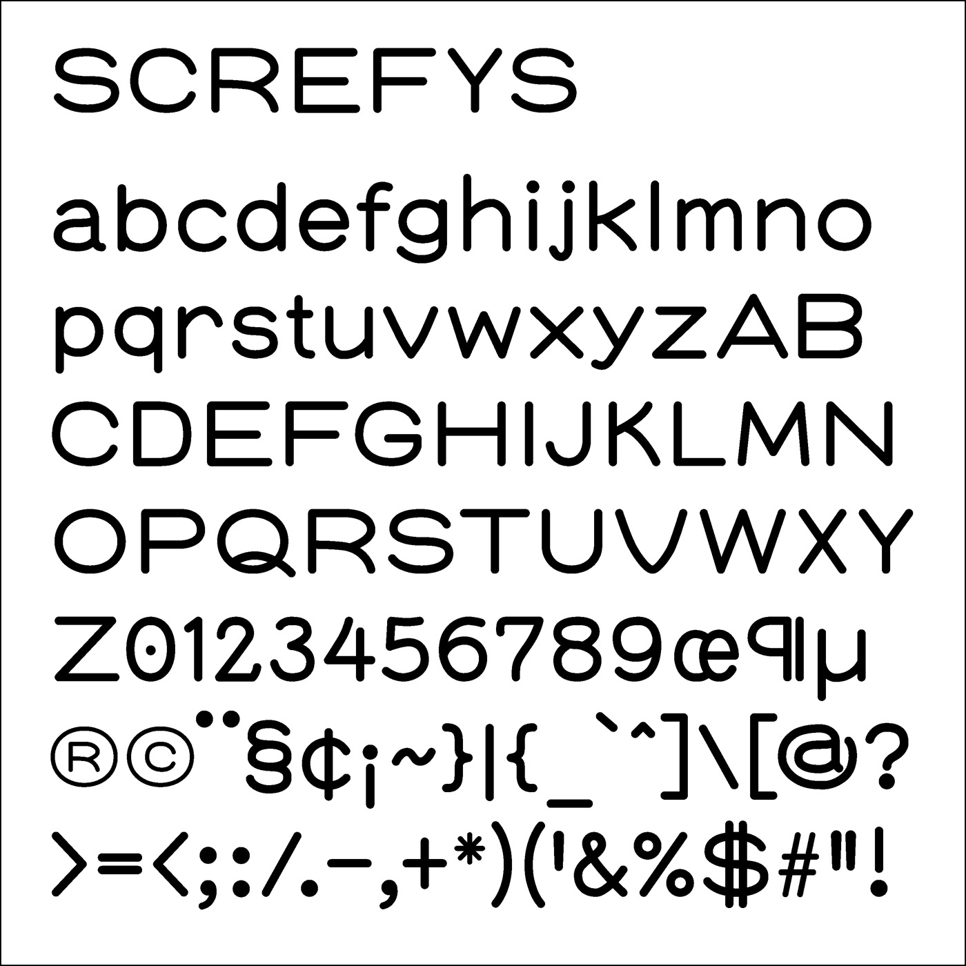 Screfys typeface designed by Thomas Bush
